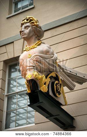 LONDON - April 06: Ship Figurehead in National Maritime Museum, London, England on April 06, 2014