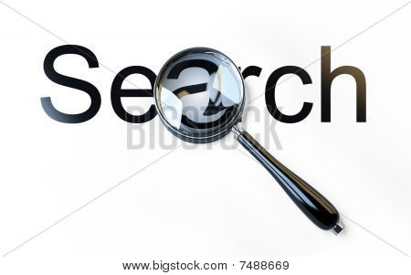 Magnifier And 'search' Word Isolated On White Background