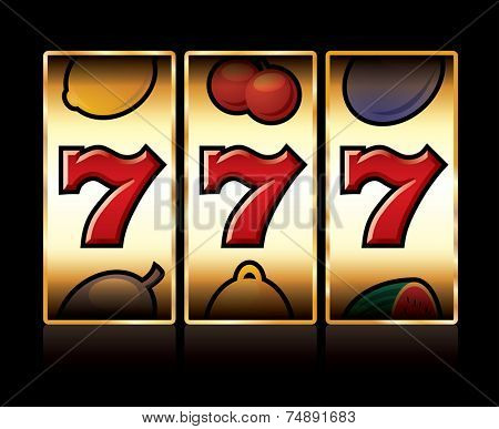 vector jackpot triple sevens at slot machine
