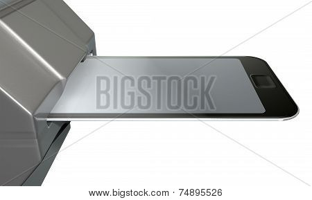 A credit card with the graphic of a smartphone on it inserted in the mechanism of a point of purchase pay point signifying cell phone payment systems on an isolated white studio background poster