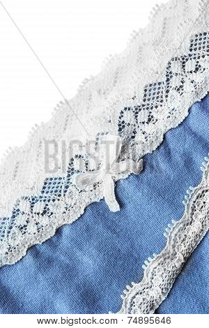Blue cloth with lacy border isolated over white as a background poster