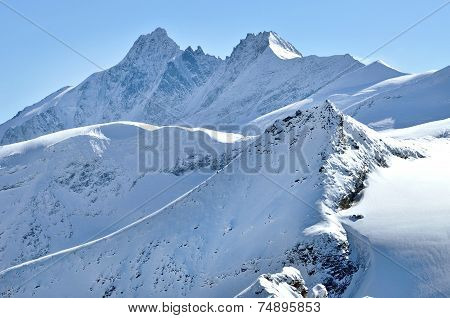 Snow covered mountains in the Austrian Alps