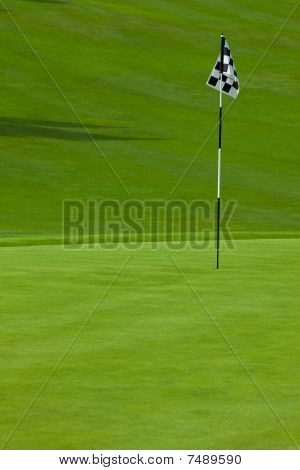 Golf putting green with flag
