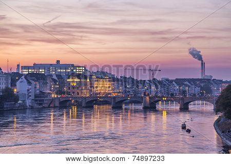 Mittlere Bridge Over Rhine And City Skyline At Sunset, Basel