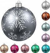 Colorful christmas balls on white surface. Set of isolated realistic decorations. Vector illustration.  poster
