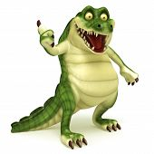 3d render cartoon of crocodile illustration collection poster