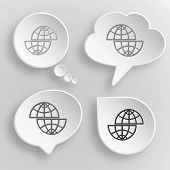 Shift globe. White flat raster buttons on gray background. poster