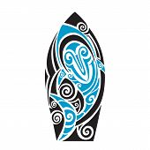 Surf board. Shark. Illustration in the Polynesian style tattoo. poster