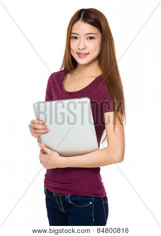 Young Woman hold with notebok computer