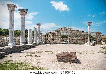 Ancient Greek Basilica And Marble Columns In Chersonesus Taurica. Sevastopol, Crimea.