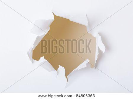 Hole on white paper set