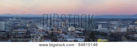 View of Portland Oregon Pearl District Cityscape with Mt St Helens and Mt Adams Fremont Bridge during Sunset Panorama poster