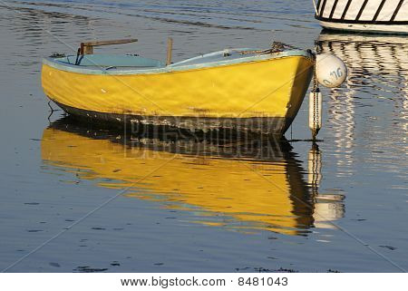Yellow Boat Moored At Emsworth.