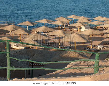 Umbrellas on an empty beach