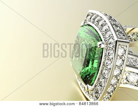Ring with Diamond. Jewelry background. Emerald  poster