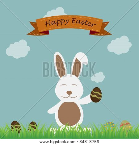happy easter bunny over sky background