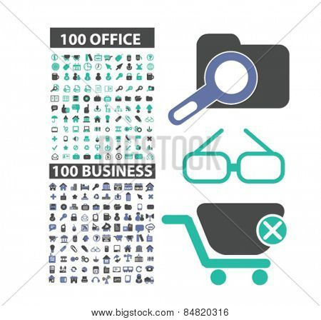 200 office, business, management, workplace, teamwork, media isolated icons, signs, illustrations concept set on background. vector