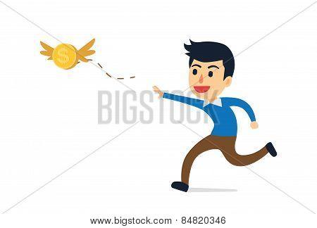 Man running to catching money
