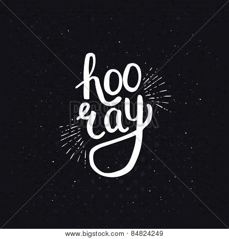 Stylish Hooray Text on Abstract Black Background