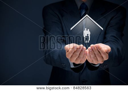 Insurance concept of family life and property insurance family services family policy and supporting families concepts. Businessman with protective gesture and silhouette representing young family and house. poster