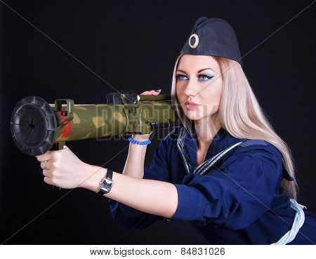 Beautiful Young Woman In A Marine Uniform With A Grenade Launcher
