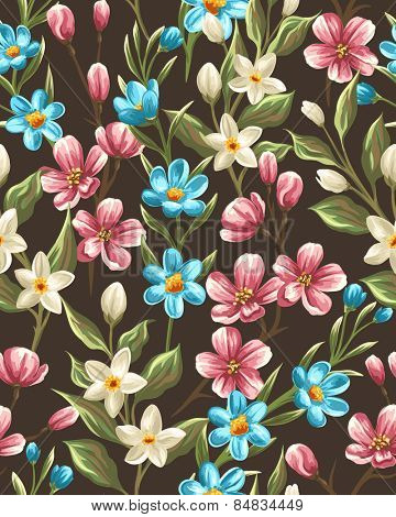 Floral seamless pattern with spring pink, beige and blue flowers