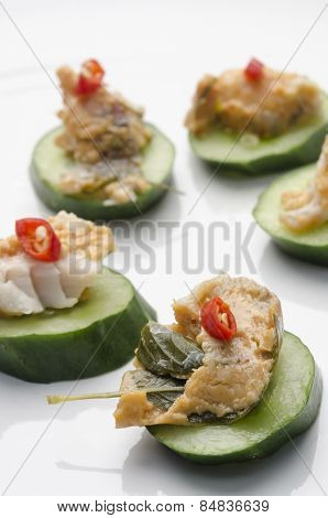 Thai Fish Pâté And Cucumber Canapés