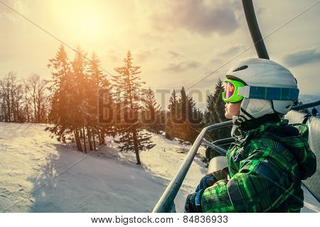 Little Skier On The Ski Lift