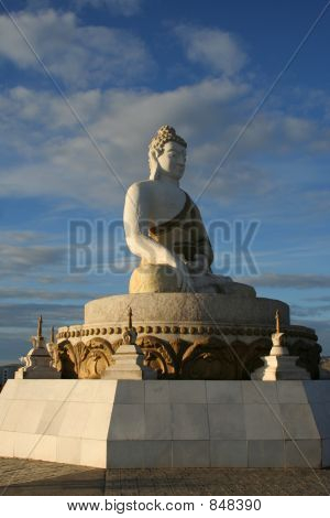 Perspective view of a Buddha statue in Mongolia poster