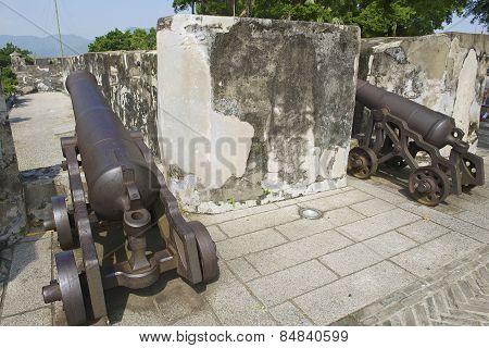Old Portuguese cannons in Guia Fortress in Macau, China.