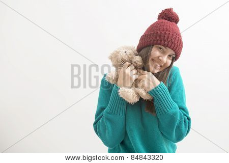 Happy Woman Plays With A Teddybear