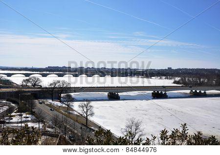 Through the frozen Potomac.
