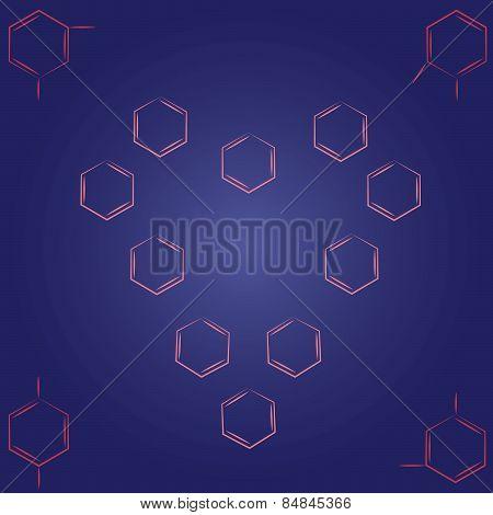 Molecule benzene ortho meta couple standing small heart frame