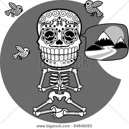 Skeletons. T-shirt. Meditacion. Man