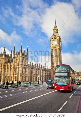 Houses of Parliament and Westminster bridge in London
