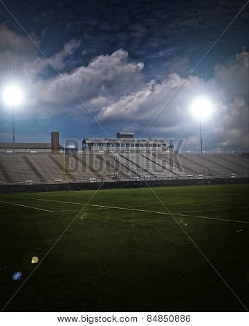 Generic American football and general sports stadium with vignette.