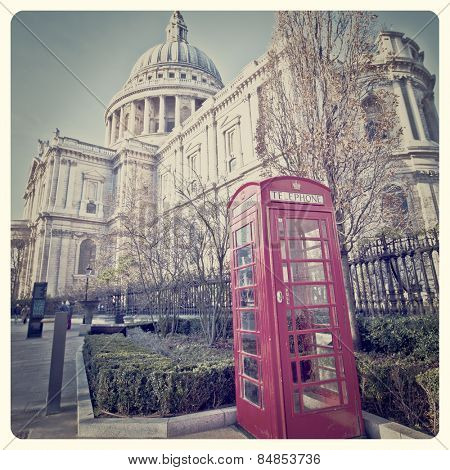 St. Paul's Cathedral and Red Telephone Box in London with Instagram effect filter