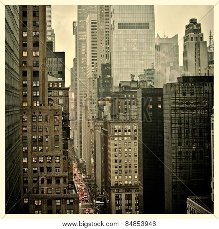 Rush hour on 42nd Street in New York City with Instagram effect filter