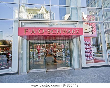 NEW YORK, USA - NOVEMBER 13th, 2014: New York's famous FAO Schwarz toy store exterior on 5th Avenue.
