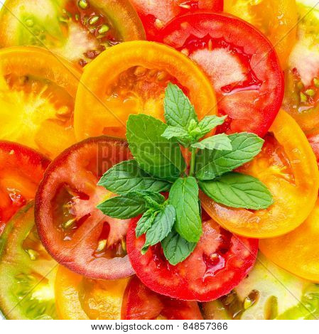 Healthy Natural Food Colorful Tomato Slices And Green  Mint, Fresh Organic Food, Isolated On White B