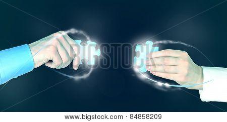 Hands with puzzle details, Partnership concept