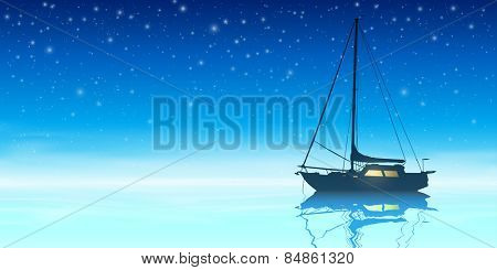 A Sailing Boat with Night Sky and Reflection on Water. Vector EPS 10