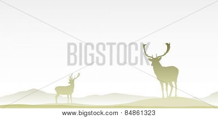 Two Male Stag Deers on Misty Moor. Vector EPS 8.