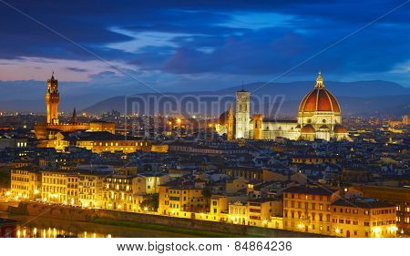 Panorama of Palazzo Vecchio and Cathedral of Santa Maria del Fiore (Duomo). Florence, Italy