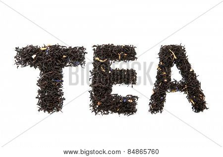 word tea isolated on white