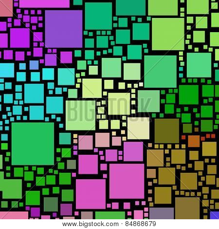 Colorful square shapes on a black background.