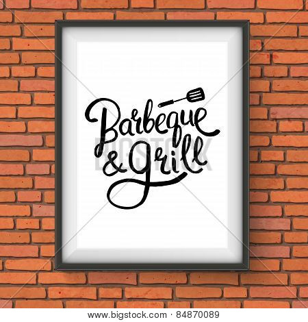 Barbecue and Grill Restaurant Sign on Brick Wall