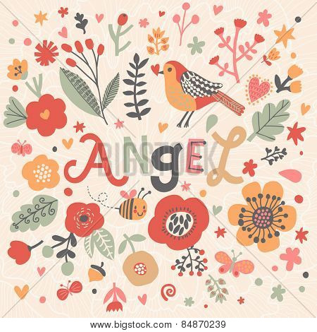 Bright card with beautiful name Angel in poppy flowers, bees and butterflies. Awesome female name design in bright colors. Tremendous vector background for fabulous designs