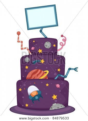 Illustration of an Appetizing Cake Designed With Heavenly Bodies