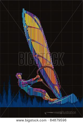 Windsurfing. Vector artwork in the style of digital equalizer